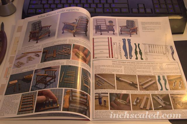 My tutorial on Morris Chairs in Miniaturas magazine